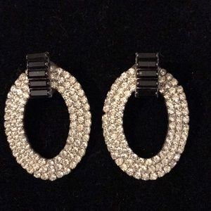 Jewelry - Jet black and crystal rhinestone earrings